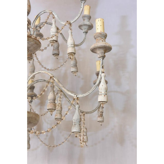 Italian Italian Two-Tier Chandelier Strung with Beads and Tassels For Sale - Image 3 of 8