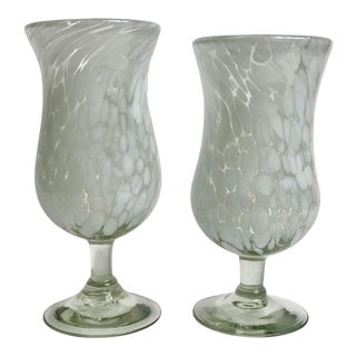 Handblown White Confedi Water Goblets - a Pair For Sale