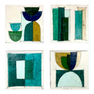 """""""Mariner"""" Contemporary Abstract Encaustic Collage Paintings by Gina Cochran - Set of 4 For Sale"""