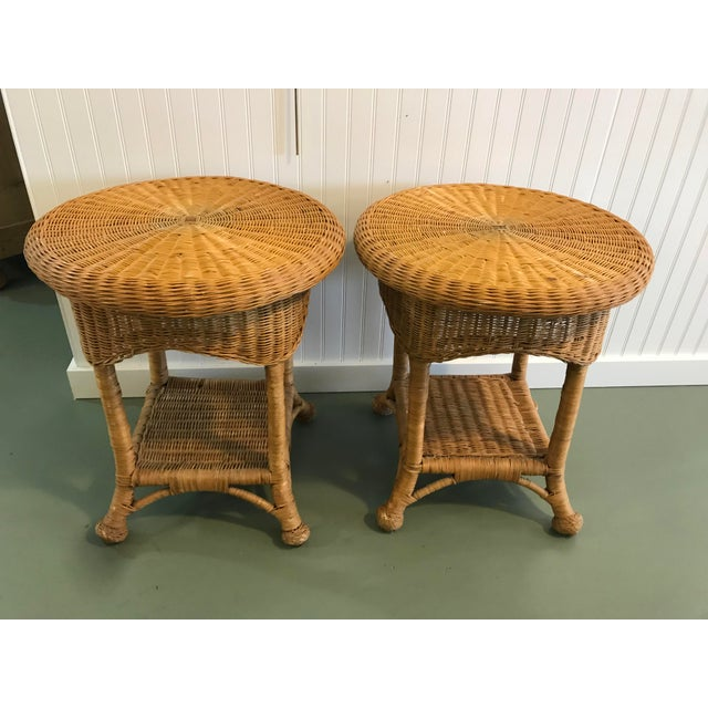 Vintage Wicker Side Tables with Glass Tops - A Pair For Sale - Image 10 of 11