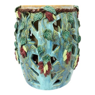 """20th. Century Hand Crafted Organic Turquoise """"Red and Green Chilli"""" Ceramic Garden Drum Stool or Side Table For Sale"""