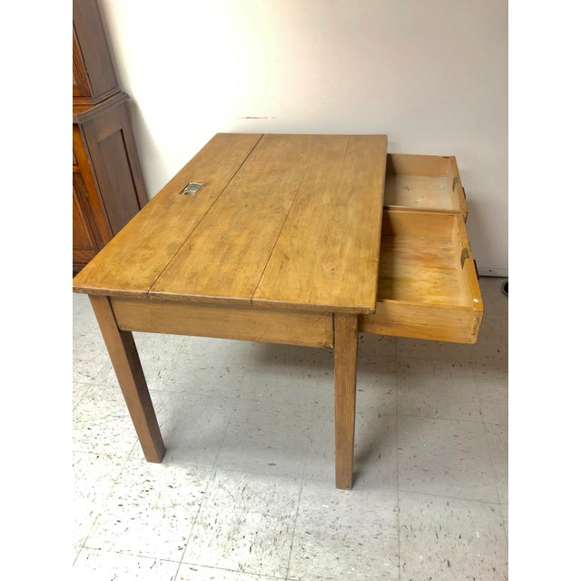 Antique Country Farm Table / Desk With Two Drawers For Sale - Image 4 of 13