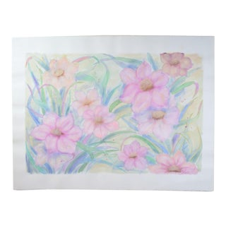 Large Pink Blossoms Flowers Color Pastel Drawing #2 by Patricia McGeeney For Sale