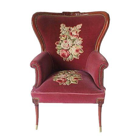 Burgundy Fireside Chair - Image 1 of 3