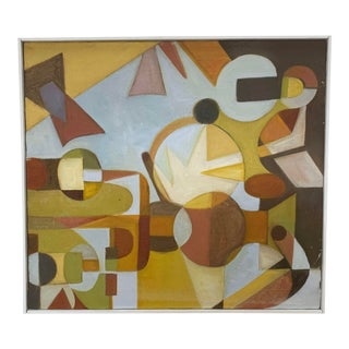 1978 Denise Schwartz Mid-Century Modern Geometric Oil Painting, Framed For Sale