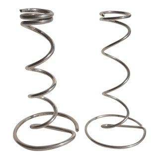 Silver Metal Abstract Coiled Sculptural Candle Holders / Bud Vases - Set of 2 For Sale