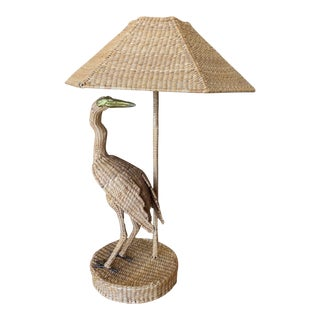 Vintage Mario Lopes Torres Large Egret Lamp For Sale