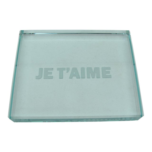 Rinoldo Frattolillo Je T'aime Modern Op Art Etched Glass Plaque For Sale