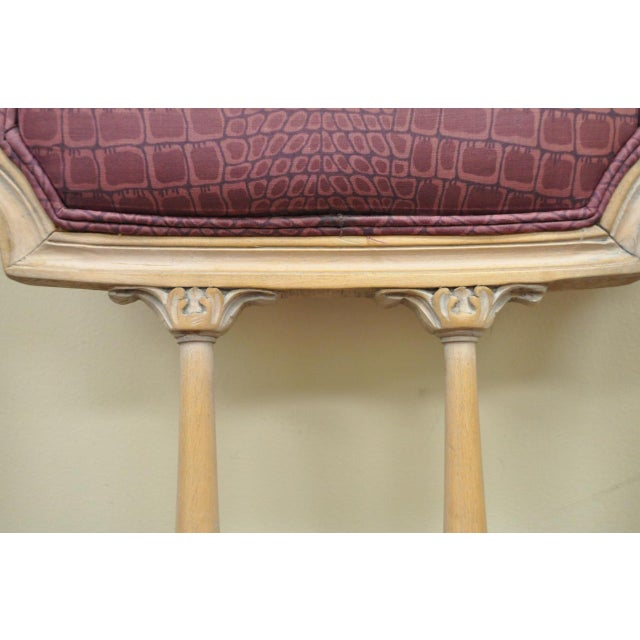 Vintage French Louis XVI Style Drape & Bow Carved Painted Dining Chairs - Set of 4 - Image 6 of 11