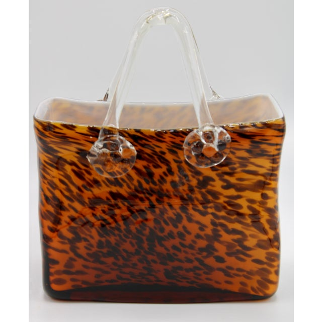 Mid Century Modern Tortoise Shell Glass Purse Cachepot / Vase For Sale - Image 9 of 9