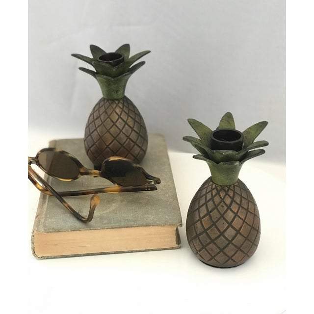 Metal Pineapple Candle Stick Holder Palm Beach Style - a Pair For Sale - Image 7 of 11