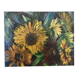 Original Still Life Painting of Sunflowers on Stretched Canvas #4 For Sale