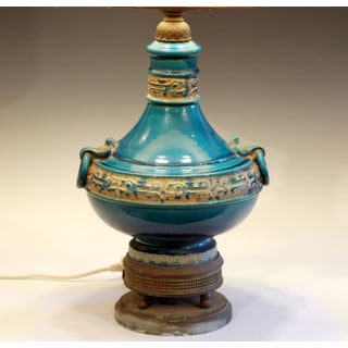 Vintage Zaccagnini Italian Turquoise Pottery Large Ring Handle Raymor Lamp Preview