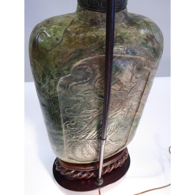 Large Carved Asian Soapstone Vessel Table Lamp 1940s For Sale - Image 10 of 11