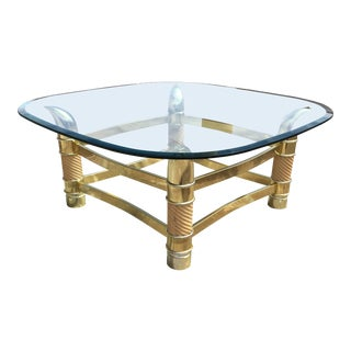 1970s Italian Solid Brass Faux Tusk Coffee Table Tommaso Barbi Style For Sale