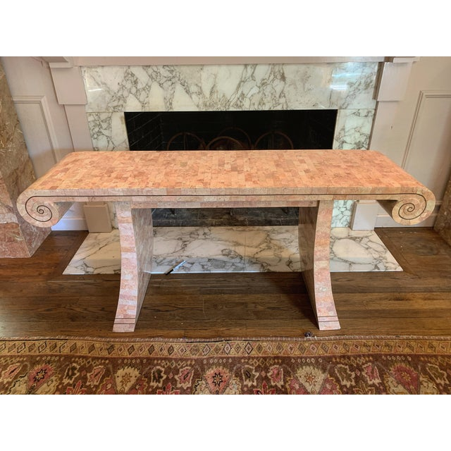 1980s Hollywood Regency Maitland -Smith Tessellated Pink Scroll Marble Console Table For Sale - Image 13 of 13