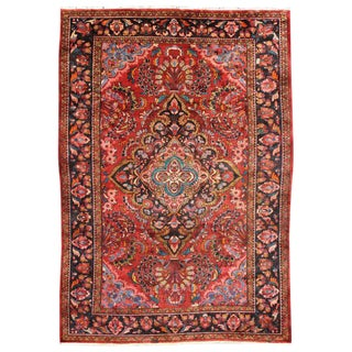 Vintage Persian Hamadan Medallion Rug with Modern Style