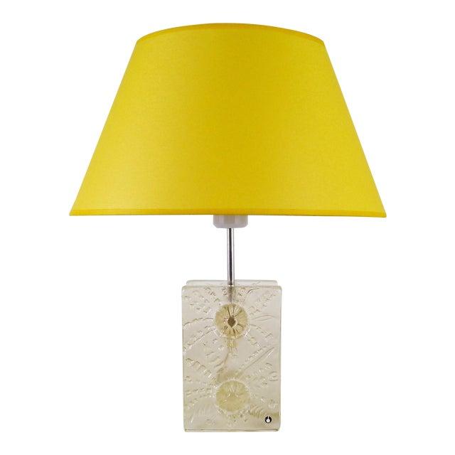 Scandinavian Modern Ice Glass Table Lamp by Pukeberg, Sweden 1960s For Sale