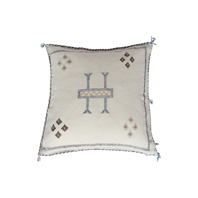 White Blue And Tan Cactus Silk Pillow - Image 1 of 4
