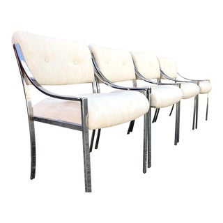 Pierre Cardin Chrome Dining Chairs - Set of Four