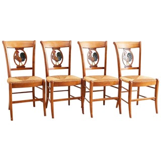 Set of Four French Provincial Rush Seat Dining Chairs For Sale