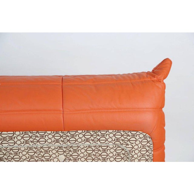 Togo Loveseat in Orange Leather by Michel Ducaroy for Ligne Roset, France For Sale - Image 10 of 13