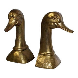 Mid 20th Century Mid Century Modern Gold Brass Duck Bookends - a Pair For Sale