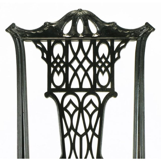 Eight Chinese Chippendale Ebonized Mahogany Dining Chairs with Leather Seats - Image 7 of 10