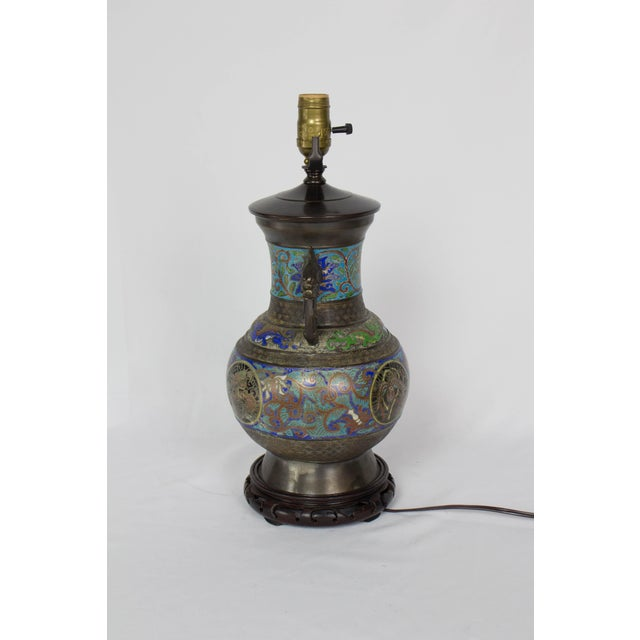 Restored Vintage Champleve Table Lamp For Sale - Image 4 of 9