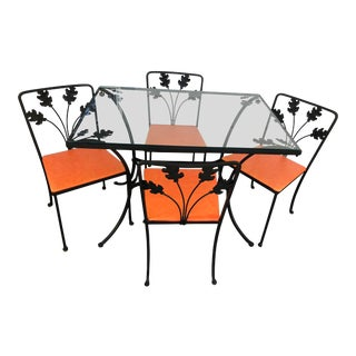 1950s Wrought Iron 5-Piece Dining Set For Sale