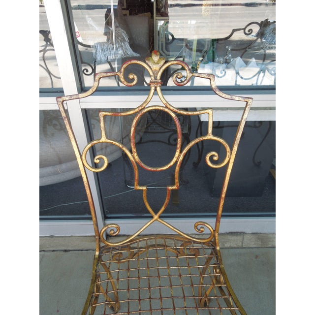 Gold French Moderne Gold Gilt Iron Chairs by Jean-Charles Moreux - Set of 4 For Sale - Image 8 of 10
