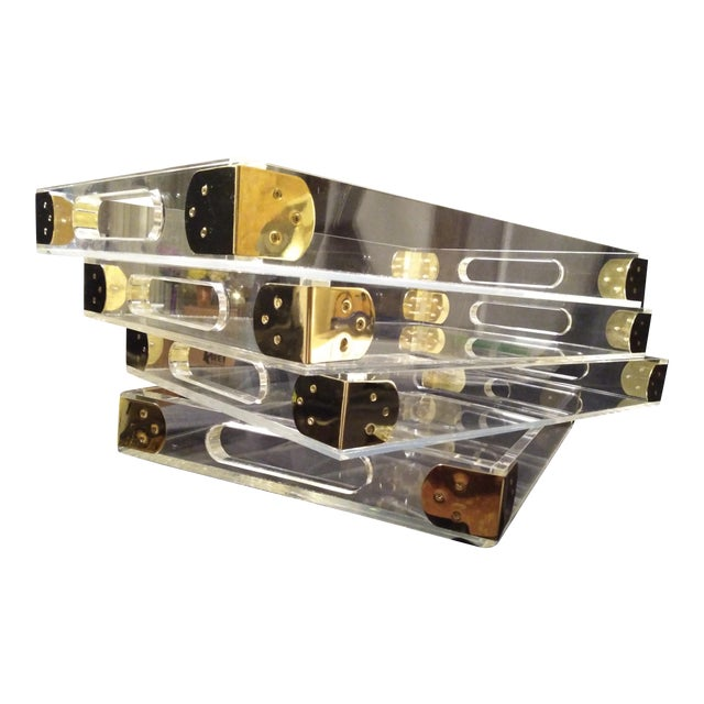 1970's Jonathan Adler Minimalist Lucite Trays For Sale