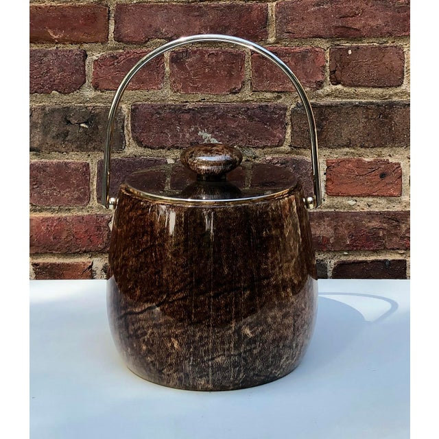 C.1950 Italian Aldo Tura Brown Goatskin and Brass Plate Ice Bucket For Sale - Image 12 of 12
