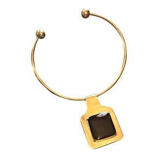 Vintage Brass Torque Trika Gold Collar Choker Necklace Pendant 1970s Egyptian Revival For Sale