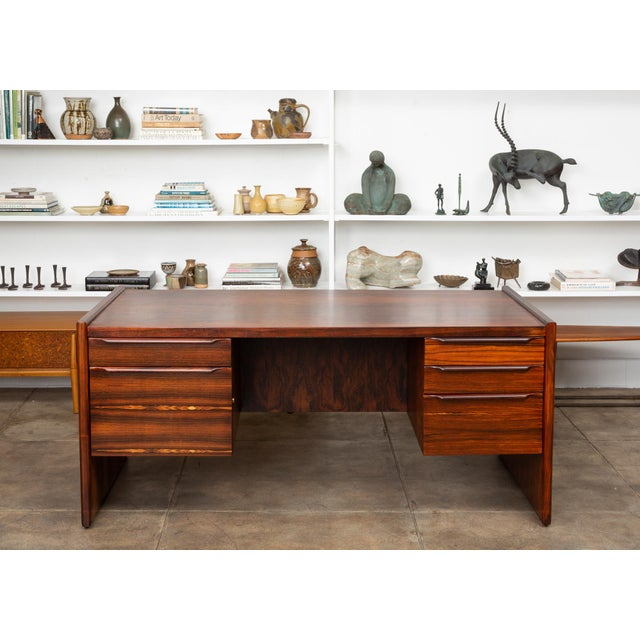 Mid-Century Modern Rosewood Executive Desk For Sale - Image 3 of 11
