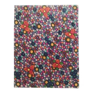 1980s Floral Pattern Watercolor Painting For Sale