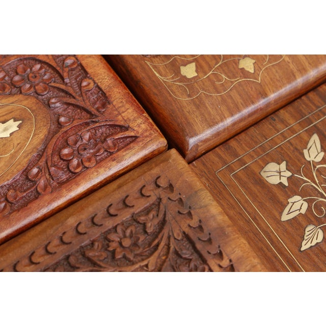 Gold Carved Trinket Boxes With Brass Inlay, Set of 4 For Sale - Image 8 of 10