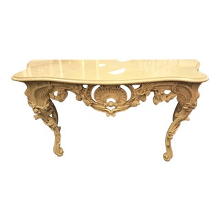 French Louis XV Style Ornately Carved Wood and Marble Console by William Switzer For Sale