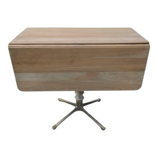 1940s Industrial Drop Leaf Center Table For Sale