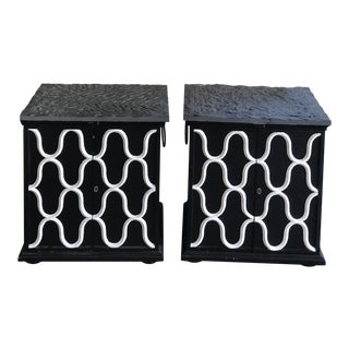 Mid Century John Widdicomb Balck Slate Nightstands - a Pair For Sale