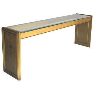 Midcentury Gilt Painted Wood and Glass Console For Sale