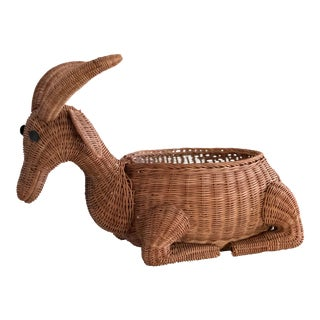 MId-Century Vintage Wicker Goat Sculpture Planter Basket For Sale