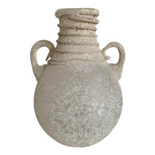 Roman Glass Amphora Vase With Spiral Threading For Sale