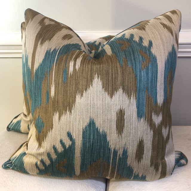 "Kravet ""Abrbandi Turquoise"" 22"" Pillows-A Pair For Sale In Greensboro - Image 6 of 6"