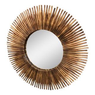 Vintage Modern Round Wooden Mirror For Sale