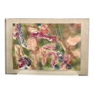 Greg Copeland Watercolor on Handmade Paper in Lucite Shadow Box Frame For Sale