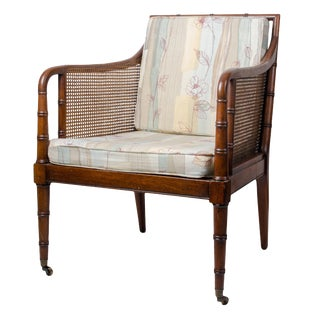 1960s Regency Hickory Chair Co. Bamboo & Cane Chair For Sale