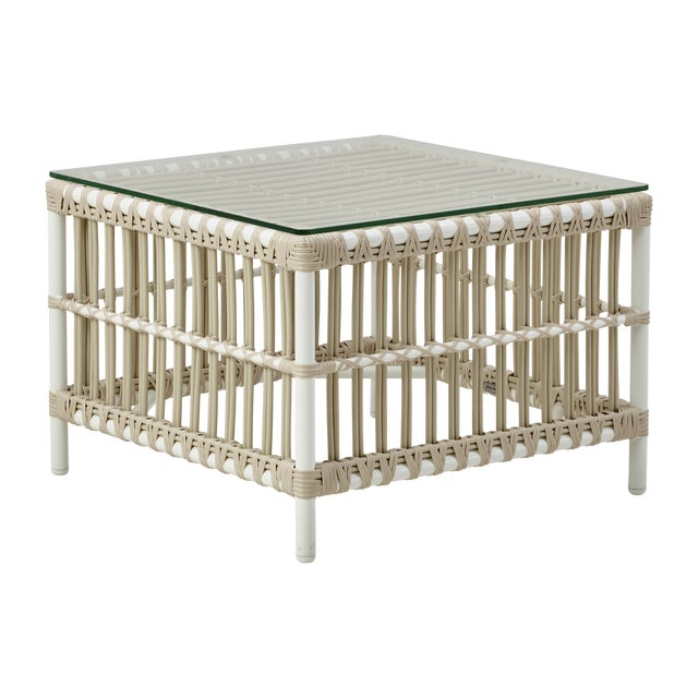 Caroline Exterior Side Table - Glass Top - Dove White For Sale - Image 4 of 4