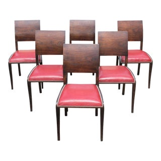 1940s French Art Deco Gondola Macassar Dining Chairs - Set of 6 For Sale