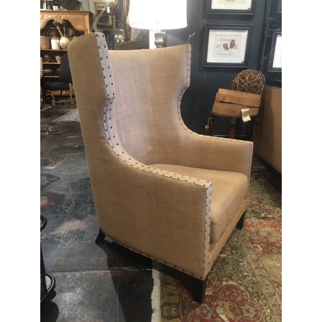 Noir Furniture Bernie Burlap Wingback Chair For Sale In Denver - Image 6 of 11